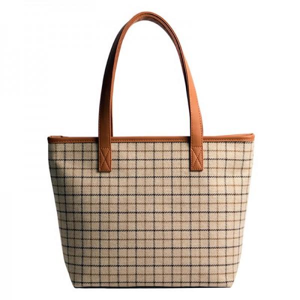 1bfa9cf06108a WL3 CROCK™ Damska shoperka torba na ramię płótno - skóra eco. Beżowa L