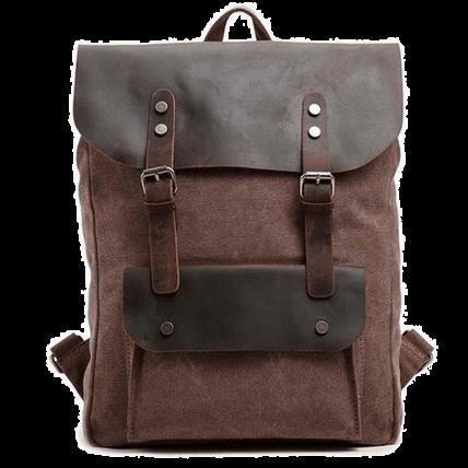 P1 VINTAGE TAR™ Plecak płótno - skóra naturalna A4 - kawowy
