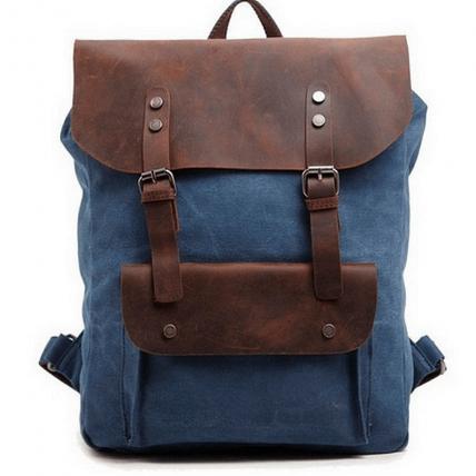 P1 VINTAGE TAR™ Plecak płótno - skóra naturalna A4 - niebieski
