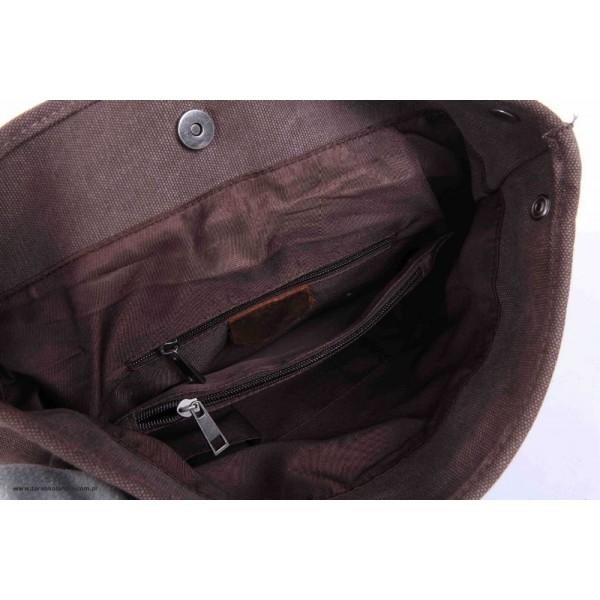 6240c444d2f6d P1 VINTAGE TAR™ Plecak płótno - skóra naturalna A4 - kawowy