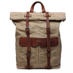 faff74e277a7f P01 WAX VINTAGE™ plecak płótno woskowane + skóra naturalna. A4 - khaki,  zieleń