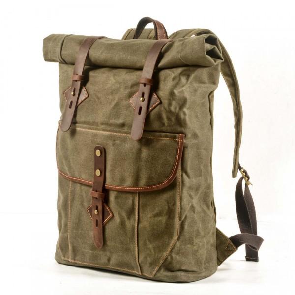 02754248403ec P11 WAX LORIEN UNISEX™ plecak płótno woskowane . A4 - brąz, zielony, zieleń  wojskowa, ciemnoszary