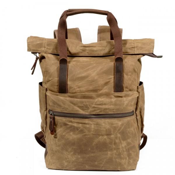 75b7e206b1043 P12 WAX CHESTER UNISEX™ plecak płótno woskowane. A4 - kawowy, czarny