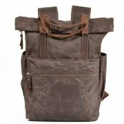 P12 WAX CHESTER UNISEX™  plecak płótno woskowane. A4 - kawowy, czarny