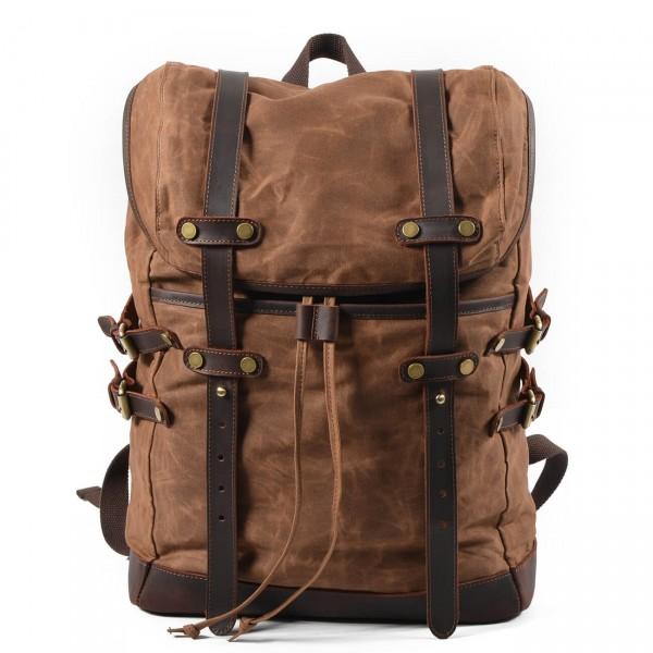 c199412a6607e P13 WAX CHAMONIX™ plecak płótno woskowane+ skóra naturalna. A4 - 7 kolorów