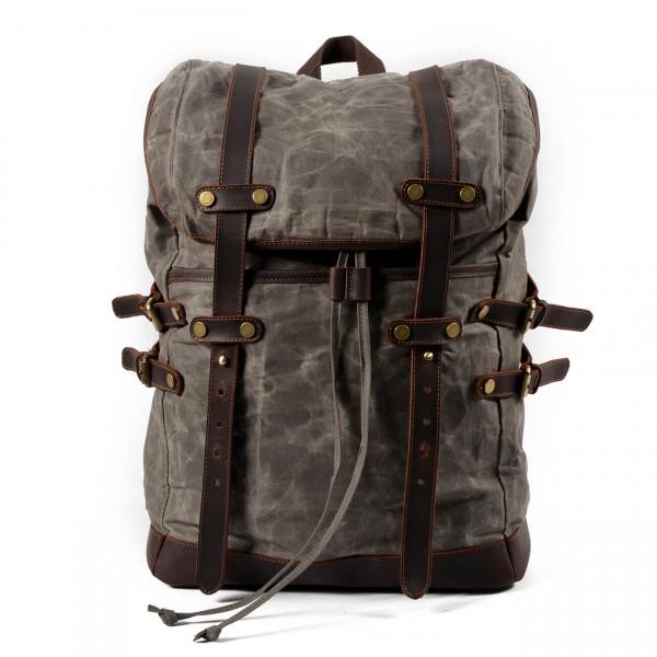 4fd13d8e55af7 P13 WAX CHAMONIX™ plecak płótno woskowane+ skóra naturalna. A4 - khaki