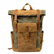 P16 WAX NORDIC™ rolowany plecak płótno woskowane+ skóra naturalna. A4 - 4 kolory