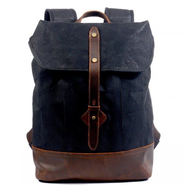 fa16b7382a073 P17 WAX KAHUNA™ plecak płótno woskowane + skóra naturalna. A4 - 4 kolory