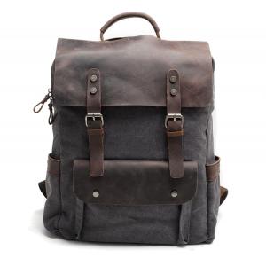 P6 VINTAGE TAR MAX™ Plecak płótno - skóra naturalna A4 - ciemnoszary