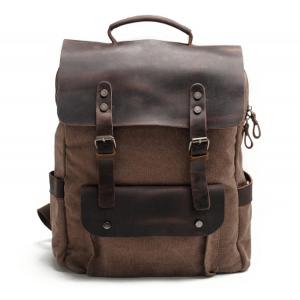 P6 VINTAGE TAR MAX™ Plecak płótno - skóra naturalna A4 - kawowy