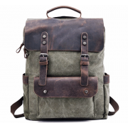 P6 VINTAGE TAR MAX™ Plecak płótno - skóra naturalna A4 - zielony