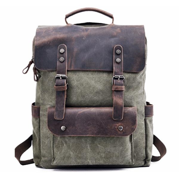 459e306809a21 P6 VINTAGE TAR MAX™ Plecak płótno - skóra naturalna A4 - zielony