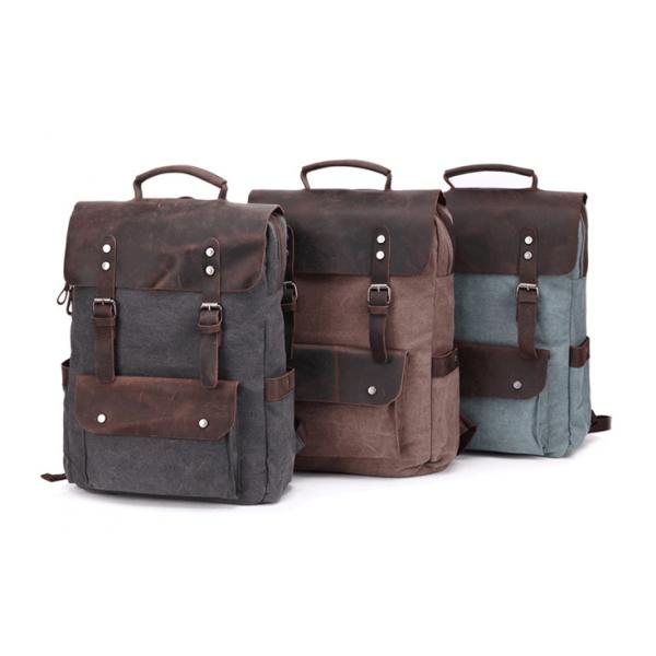 9ab2057860817 P6 VINTAGE TAR MAX™ Plecak płótno - skóra naturalna A4 - zielony
