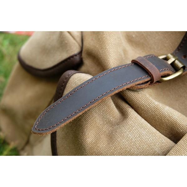 303a29a559291 P8 WAX STANFORD UNISEX™ plecak bawełniany z dodatkami ze skóry naturalnej.  A4 - Szary, czarny, zielony, ...
