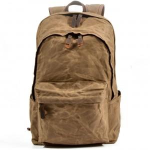 90105fbdcff72 P9 WAX BOSTON UNISEX™ plecak płótno woskowane - skóra naturalna. A4 - Khaki