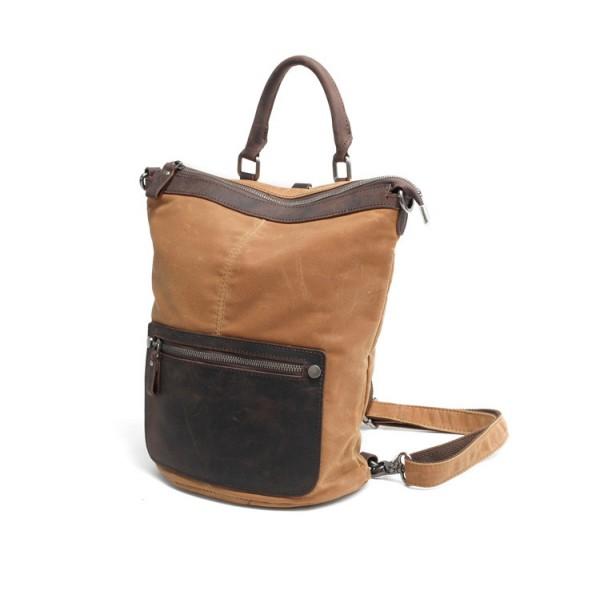 067d9dfe2423c TD01 LATIFA™ damski plecak + torba 2w1 płótno - skóra naturalna