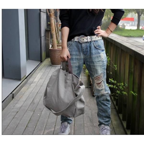 68bc78de4173e (24) TD05 ROCKON™ damska torba miejska na ramię. Bawełna i skóra naturalna  (ciemnoszara)