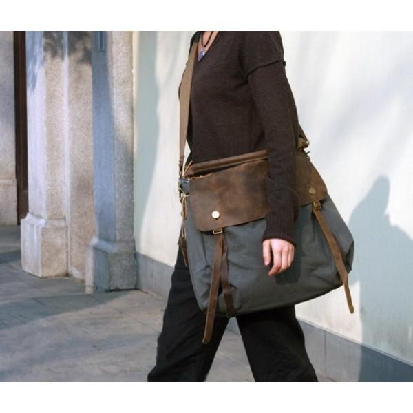 33d7b1b46c00c TD2 MAIL VINTAGE™ miejska torba na ramię. Bawełna i skóra naturalna (kawowa)