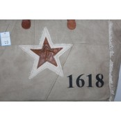 """TD23 STAR TOTE™ Torba na ramię płótno - skóra naturalna 16"""""""
